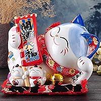 GE&YOBBY Creative Money Box,ceramic Beckoning Cat Handcraft Lying Piggy Bank For Home Restaurant Fengshui Decor-a 22x23.5x25cm(9x9x10inch)