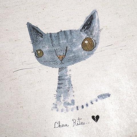 Nuovo Gattino blu Stampe a mano tinti tessuto di cotone