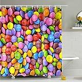 Farbige Steine Badezimmer Duschvorhang, Anti-Schimmel 100% Polyester Badewanne Duschvorhänge, 3D Effekt und Digitaldruck, Wasserdicht mit 12 weißen Haken, 180 x 180cm