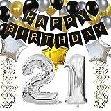 """KUNGYO Clásico Decoración de Cumpleaños -""""Happy Birthday"""" Bandera Negro;Número 21 Globo;Balloon de Látex&Estrella, Colgando Remolinos-Perfectas del Partido Para el Cumpleaños de 21 Años"""