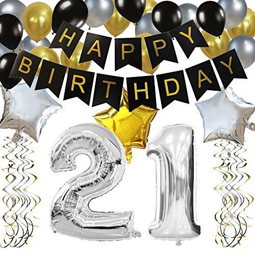 (KUNGYO Zum 21. Geburtstag Party Dekorationen Kit Rose Gold Happy Birthday Banner-Riesen Zahl 21 Helium Folienballons, Bänder, Papier Pom Blumen, Latex Ballon, Alles Gute Zum Geburtstag für Frauen)