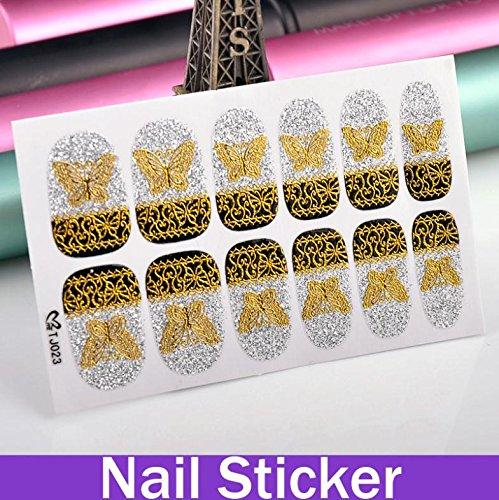oxgrow (TM) d'une seule feuille de transfert de papillon doré à paillettes pour ongles or autocollant ongles en ligne formes pour ongles
