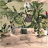 YFXGSTLI Papier Peint Panoramique Peintures Murales 3D Photo Tropical Forêt Tropicale Oiseau Palmier Feuilles Salon TV Fond Murale W150xH105cm