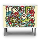 banjado - Badunterschrank 60x55x35cm Design Waschbeckenunterschrank mit Motiv Birds Worms Freaks