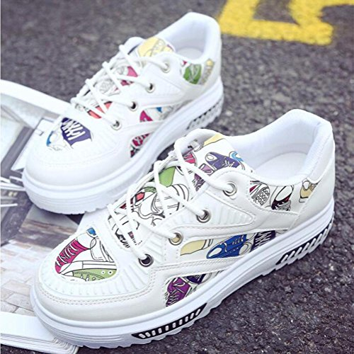 Graffiti PU scarpe casual primavera ed estate donna scarpe sportive White