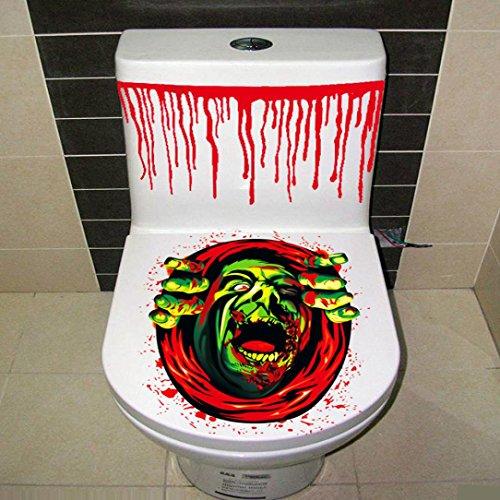 JIANGFU Halloween Persönlichkeit Toilettenaufkleber,Halloween-blutige Hand-Toiletten-Abdeckungs-Partei-Dekoration-Aufkleber-Prop-furchtsamer Zombie (Geschichten Niedliche Halloween)
