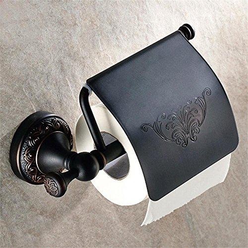 GRY Wasserdichter Badezimmer-Toilettenpapier-Halter Rollenhalter-Seite der Toiletten-Gewebe-Kasten,Antike schwarze Farbe (Schwarzer Gewebe-kasten-halter)