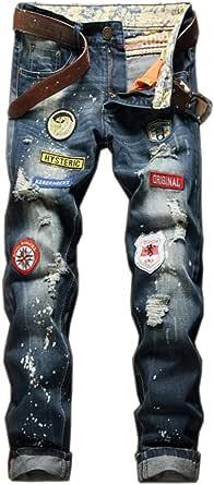 LaoZan Men's Vintage Ripped Slim Fit Straight Leg Denim Jeans Trousers