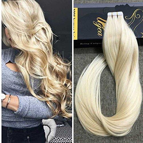 Ugea Bleach Blond 613# Echthaar Tape in Extensions Unprocessed Brasilianich Remy Tressen Haarverlangerung 20 zoll/50cm 50g/20pcs