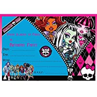 MONSTER HIGH BIRTHDAY PARTY INVITES INVITATIONS X 10 PACK & ENVELOPES