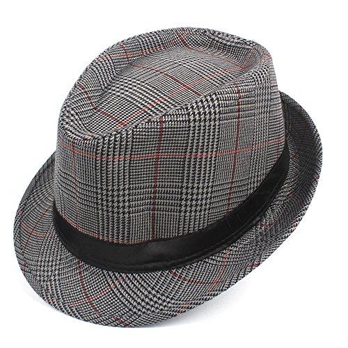 DuoShengZhTG Sun Homburg Hut Für Männer Mode Baumwolle Plaid Fedora Hut Für Vater Gentleman Casual Caps Größe 58 cm (Farbe : Silver, Größe : 58 cm) (Baumwolle Plaid Fedora-hut)