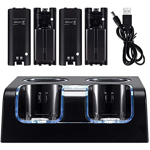 Stazione di ricarica LED 4 in 1 + 4 x 2800 mAh batteria cavo USB per WII/WII Utility da utilizzare