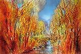 Artland Qualitätsbilder I Wandbilder Selbstklebende Wandfolie 30 x 20 cm Botanik Bäume Laubbaum Malerei Rot C8MK Bunt Sind Schon die Wälder