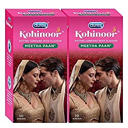 Durex Kohinoor Condoms - 10 Count (Pack of 2, Meetha Pan)