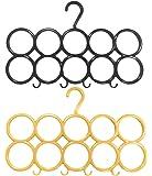 Kuber Industries 10-Circle Plastic 2 Pieces Ring Hanger for Scarf, Shawl, Tie, Belt, Closet Accessory Wardrobe Organizer (Multicolour) - CTKTC30750