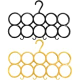 Kuber Industries 10-Circle Plastic 2 Pieces Ring Hanger for Scarf, Shawl, Tie, Belt, Closet Accessory Wardrobe Organizer (Mul