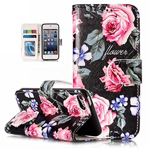 iPhone iPod Touch 5/6 hülle halfter PU leder Pfingstrose Blumen brieftasche kreditkartenfach eigenschaften magnetisch aus stent Funktion Halter 3D Muster entwurf schutzhülle DECHYI case cover Ipod 4 Fällen Stieg
