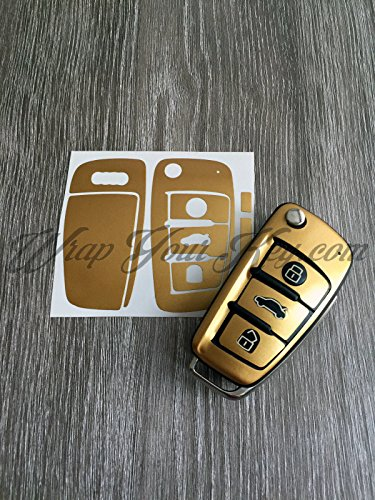 Haut Fall (Gold Glanz Schlüssel Wrap Cover Fall Haut Audi Fernbedienung A1A3A4A5A6A8TT Q3Q5Q7)
