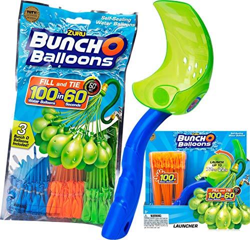 Zuru 1213 - Bunch o Balloons, 100 Wasserbomben in 60 Sekunden, selbst verschließend ohne Knoten, 3 Bündel mit je 35 Wasserbomben (205 Wasserbomben + Katapult)