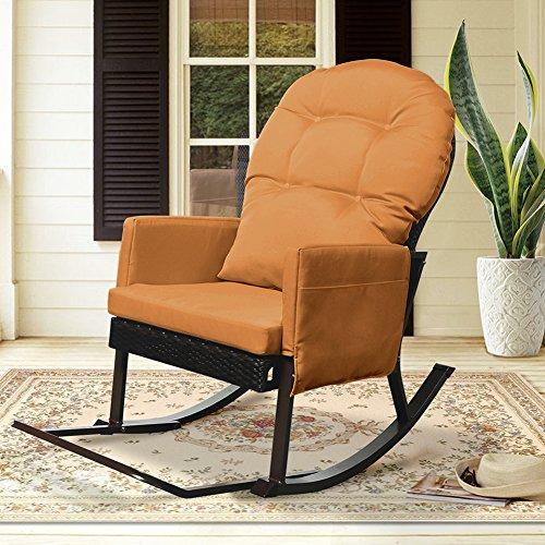 Outdoor Wicker Schaukelstuhl mit Fußstütze, Outdoor Glider Patio Sessel Lounge Chair, Allwetter Deckstuhl, UV-beständig und Anti-Rost Aluminium Frame (Orange) -