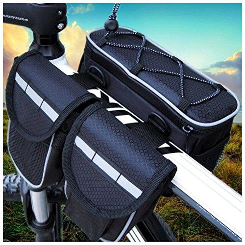 Fortuning's JDS Tragbare wasserdicht Radfahren Fahrrad Frontrahmen Tasche drei Beuteln Rohr Pannier mit regen Abdeckung Schwarz