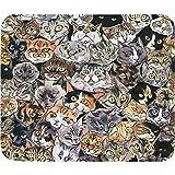 Tapis de souris en forme d'œil de chat avec bords cousus et base en caoutchouc...