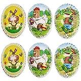 COM-FOUR® 6 Uova di Pasqua per riempire Vari temi pasquali (06 Pezzi - 9,5 cm x 6,5 cm)