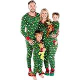 YOUJIAA Christmas Family Pajamas Printed Parent-Child Matching Onesies Sleepwear Winter Buttoned Homewear