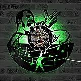 Nuevo! Queen Band Freddie Vinilo Record Clock Musical Rock Star Hecho a Mano Creativo Reloj Colgante con luz LED -Hollow Home Decor y un Regalo de Arte para Hombres Amigo