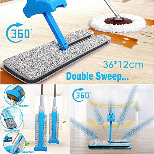 Doppelseitige Nicht Handwäsche Wischmop, FEITONG Mopp Zuhause Reinigung Werkzeuge Blau Griff