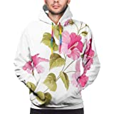 Men's Hoodies Sweatershirt,Tropic Wild Hibiscus Flower Branch with Fresh Leaves Exotic Flora Concept,