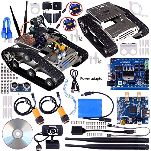 Preisvergleich Produktbild Kuman SM5 TH wireless wifi Robot Car Kit for Arduino,Utility Vehicle Intelligent Robotics, HD camera arduino DS robot Smart Educational Robot Kit for Kids With Video tutorial