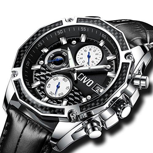 CIVO Herrenuhren Multifunktional Chronograph Datum Kalender Wasserdicht Analog Quarzuhr mit Schwarz Echtes Lederband Luxus Beiläufig Geschäft Mode Armbanduhr zum Männer mit Prismatisches Zifferblatt