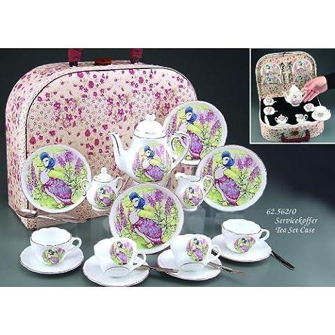 Children's-Jemima Puddleduck Service à thé en porcelaine - 4 personnes-Housse de transport en tissu Reutter Porzellan Service composé d '1 pour enfant Motif petit cadeau