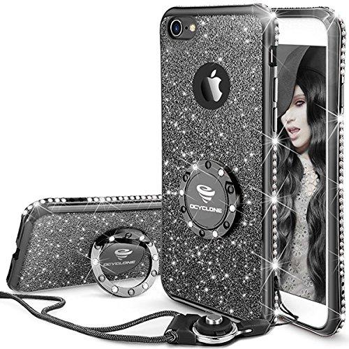 OCYCLONE iPhone 6S Hülle, Schwarz Glitzer Handy Hülle iPhone 6 / 6S mit Ring 360 Grad Ständer, Diamant Glanz Bling Glitzer Niedlich Case für Frauen Mädchen iPhone 6 / 6S Hülle - 4,7 Zoll -