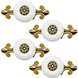 Dylan-EU 4 stks Vintage Keramische Deurknoppen Messing Klassieke Deurgrepen Hoge Kwaliteit Wit Pull Handvat Gebruikt voor Kas