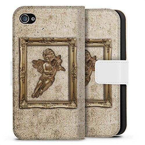 Apple iPhone X Silikon Hülle Case Schutzhülle Engel Angel Gemälde Sideflip Tasche weiß