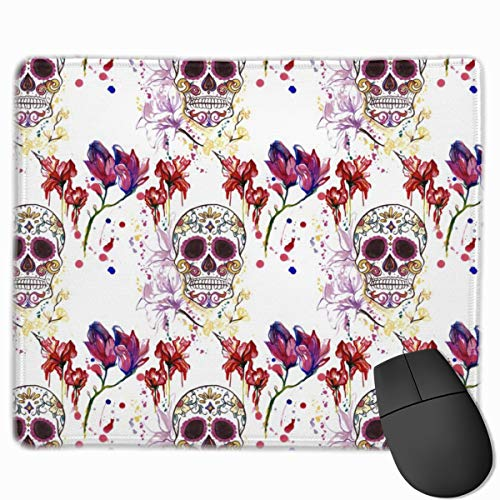 Sugar Skulls And Sureal Flowers Non-Slip Rectangle Rubber Mouse Pad 25*30CM