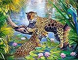 Leopardo DIY 5D Diamond Pittura Lotus Pond Strass Ricamo Da Kit Numero Completo Trapano Falso Resina Croce Punto Mosaico Foglie Pittura Adesivo Murale Tela Decorazione Camera Da Letto, Diamante Quadrato, 50Cm * 40Cm