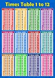Times Tables 1bis 12blau Kinder Wand Diagramm Educational Mathematik Rechenzeichen NUMERACY Kinder Poster Kunstdruck-Wandtafel