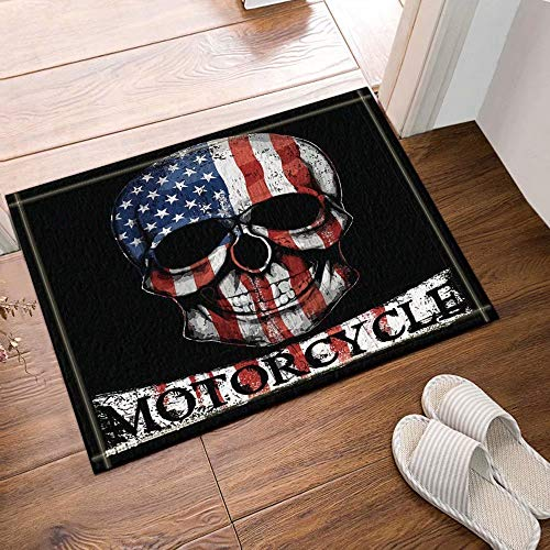 or Amerikanische Flagge Schädel Bad Teppiche Rutschfeste Fußmatte Boden Eingänge Outdoor Indoor Haustürmatte Kinder Badematte 50x80cm Badzubehör ()
