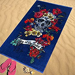 Regalitostv Day of The Dead* Toalla Playa Grande 95 X 175 CM Tacto Terciopelo 100% Algodón (360g) (Skull Marino 238C)