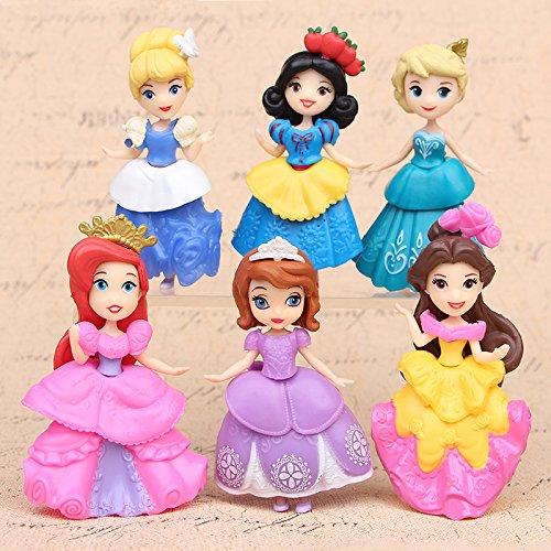 Princesas Disney - set 6- figuras-con bolsa de plastica- 9 cm