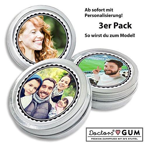 Personalisierte DOCTORS GUM, zuckerfreie Kaugummis in Retro Dose, mit Foto, Geschenk für Männer, Frauen, Dose, 3er Pack