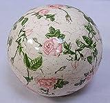 linoows G2065: Rosenkugel, Landhaus Gartenkugel Rosenmuster, Keramik Kugel, 12 cm