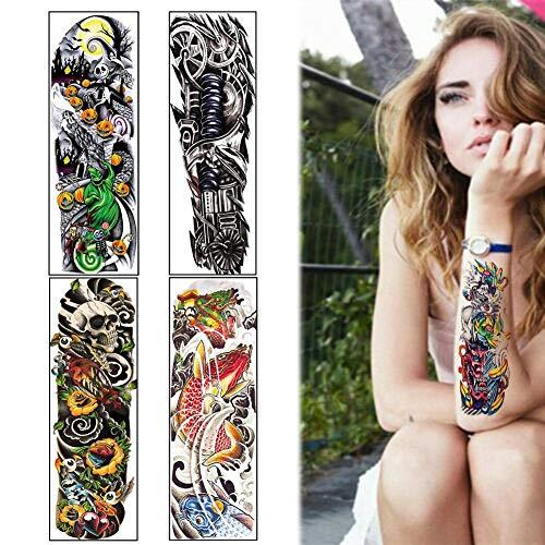 5 Sheets Full Arm Leg Temporäre wasserdichte Tattoos Art Stickers Abnehmbarer Ärmel