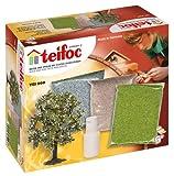 Teifoc TEI 0900 Deco-Box - Accesorios de decoración para juego de construcción Teifoc (árbol, hierba, tierra, piedras y cola) [importado de Alemania]