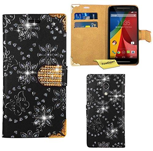 Moto G2 Handy Tasche, FoneExpert® Bling Luxus Diamant Hülle Wallet Case Cover Hüllen Etui Ledertasche Premium Lederhülle Schutzhülle für Motorola Moto G 2nd Gen.2014 (Schwarz)