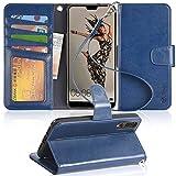 Arae Huawei P20 Hülle, Handyhülle P20 Tasche Leder Flip Cover Brieftasche Etui Schutzhülle für Huawei P20 - Blau
