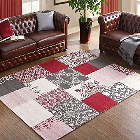 Contemporary Rustic Style Area Rugs - MeMoreCool High Quality Material Beautiful Floral Patterns in Checked Design Great Home Decoration Machine Washable 63 X 91 Inch